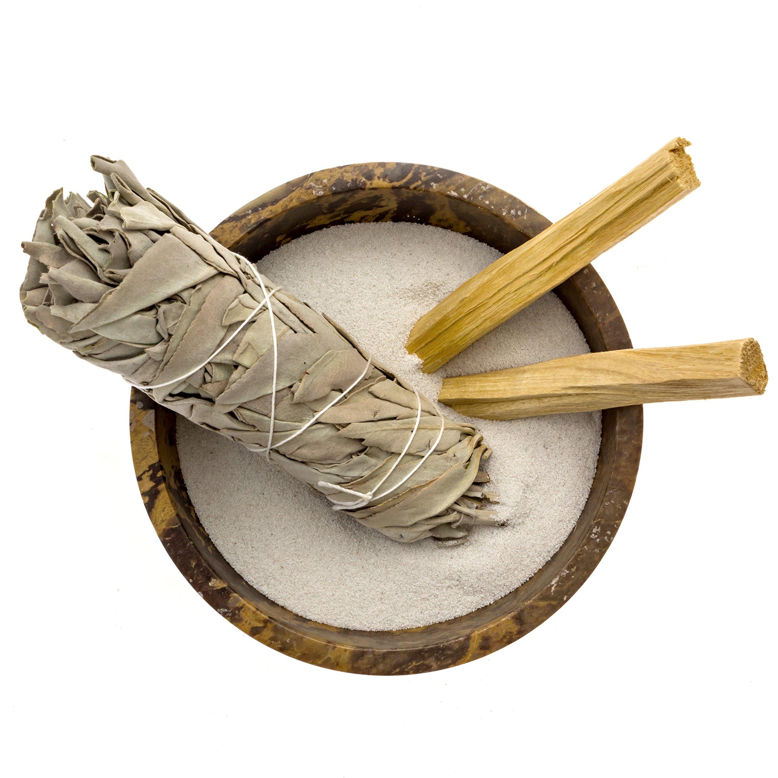 Alternative Imagination Soapstone Smudge Bowl Kit with 1 California White Sage Smudge Stick, 2 Palo Santo Smudge Sticks, and 1/2 lb of White Sand (Deluxe) by Alternative Imagination (Image #3)