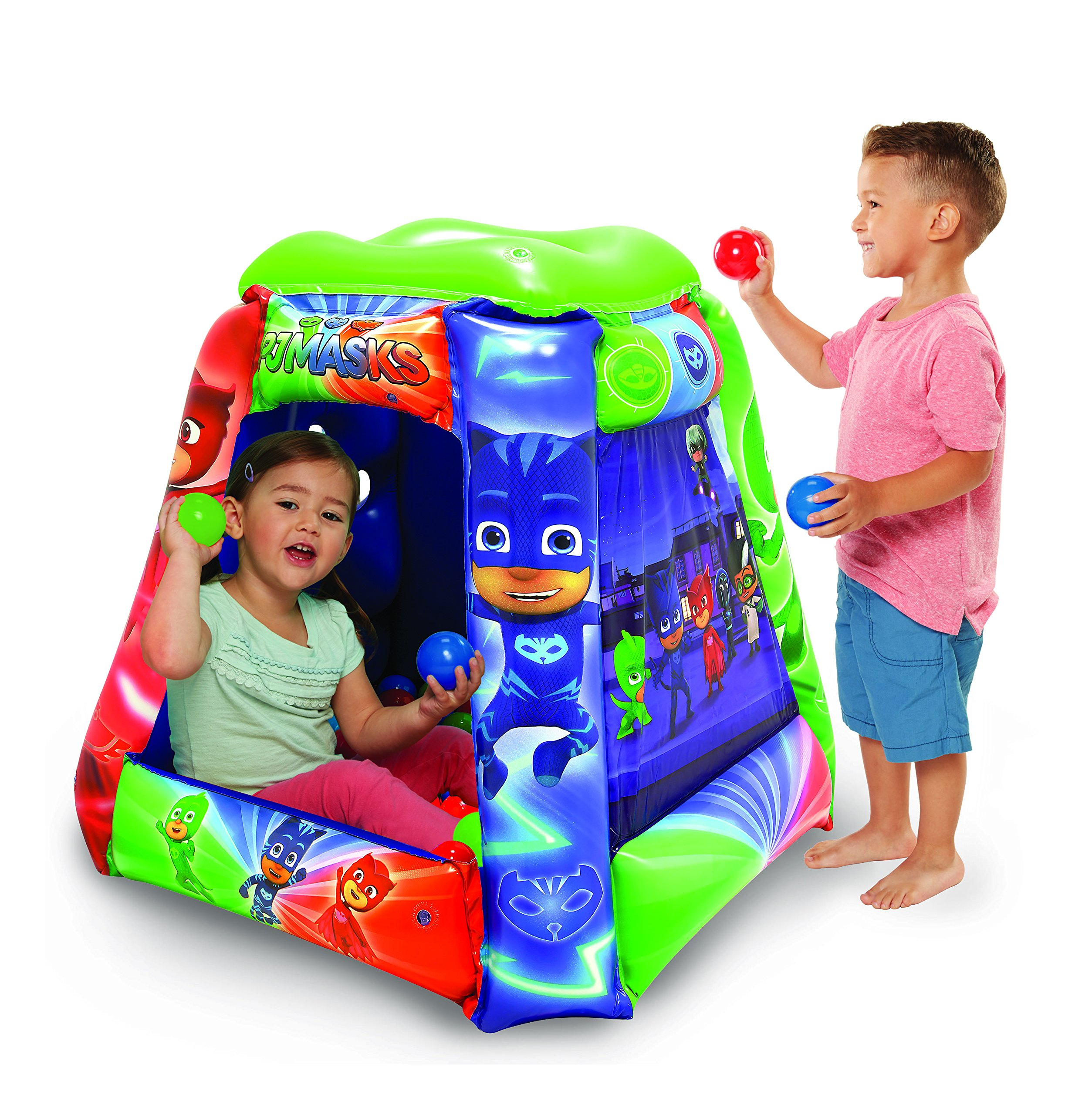 PJ Masks Ball Pit, 1 Inflatable & 20 Sof-Flex Balls, Blue/Green/Red, 37''W x 37''D x 34''H by Moose Mountain