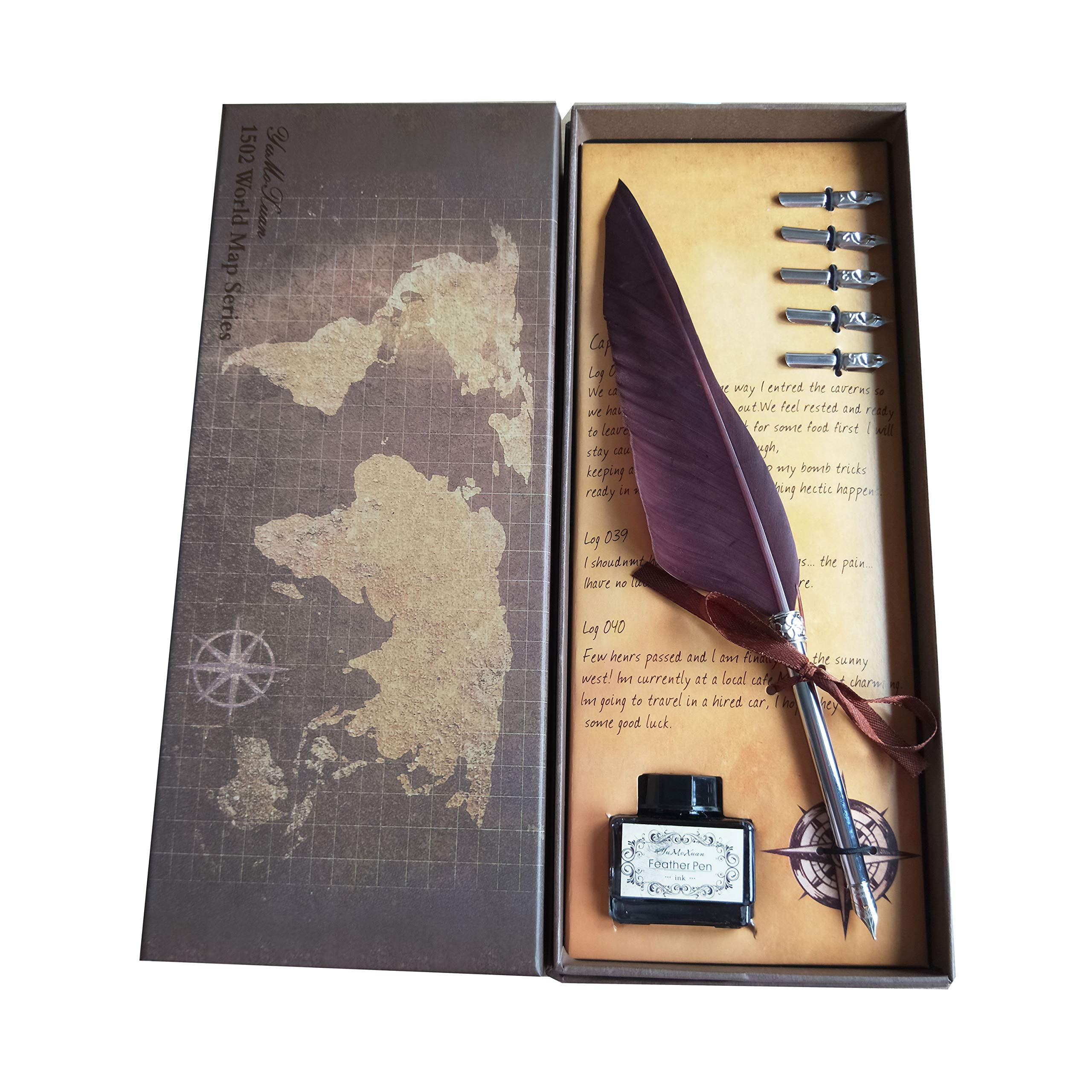 Calligraphy Pen | Feather Quill Pen Set with 5 Extra Nibs, Dip Ink Bottle in Gift Storage Box