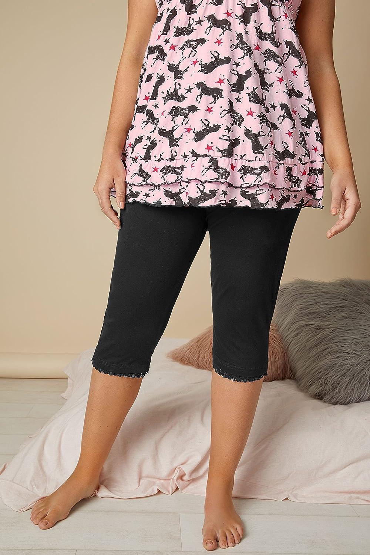 Yours Clothing Womens Crop Pyjama Bottoms 3//4 Length Cotton Plus Size