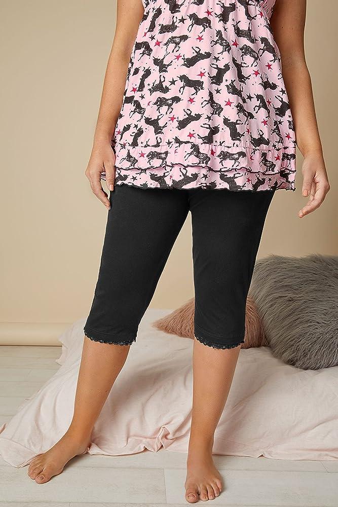 Yours Clothing Womens Plus Size Black Pyjama Bottoms Crop Lace Pj/'s 100/% Cotton