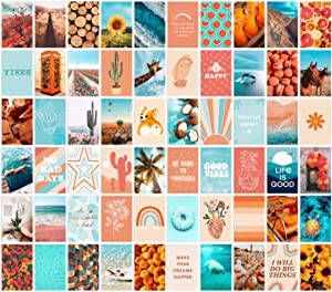 ANERZA 60 PCS Wall Collage Kit Aesthetic Pictures, Aesthetic Room Decor for Teen Girls, Photo Wall Decor, Vsco Trendy Bedroom Posters, Peach Teal Boho Wall Art, 4x6 inch