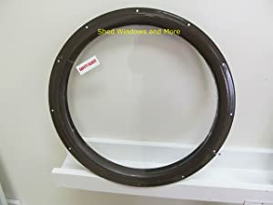 Round Shed Window, Brown Small 16