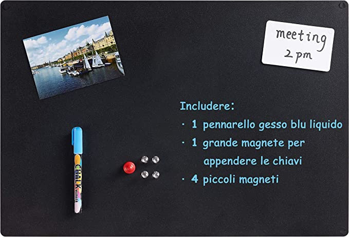 40x30 cm schwarz Blackboard Magnettafel Tafel f/ür Kinder K/üche Magnetische Kreidetafel zum Aufh/ängen B/üro Wandtafel mit Ablage und Kreide-Marker