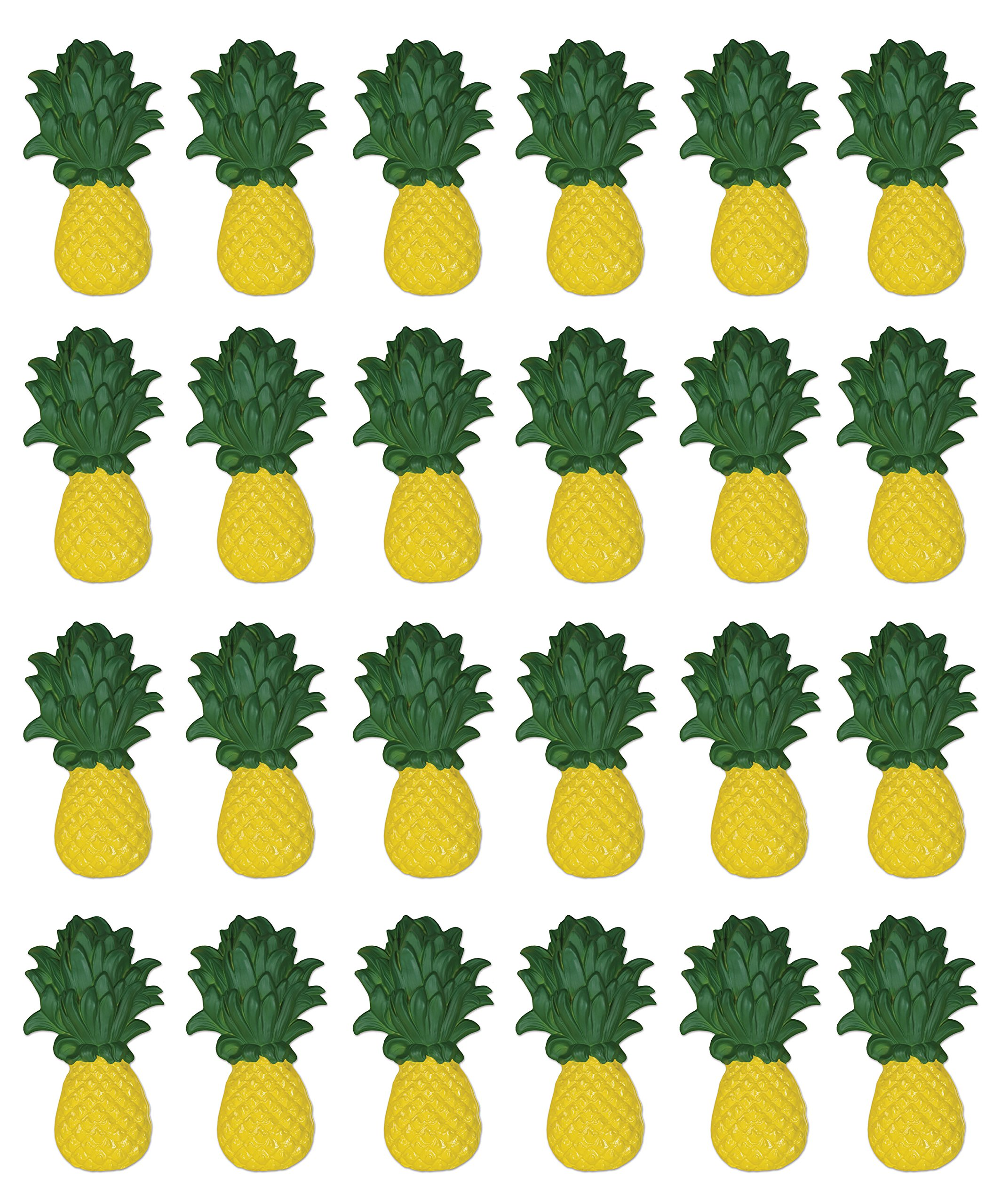 Beistle 59960, 24Piece Plastic Pineapples, 19'', Yellow/Green