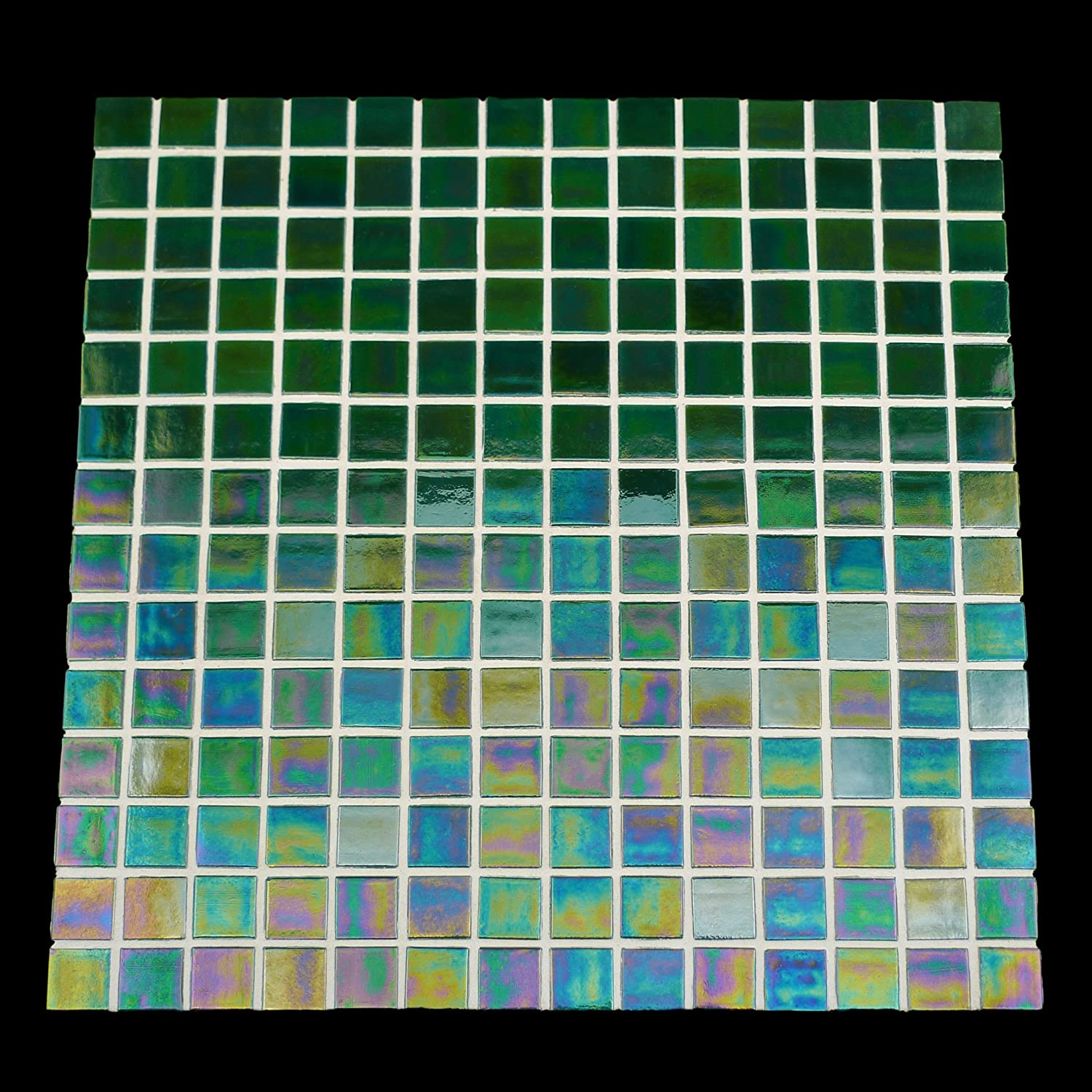 URBN Contemporary Deep Ocean Blue Iridescent Glass Mosaic Tile for Kitchen and Bath Sample Tile 4-1//3 inches x 4-1//3 inches, 0.13 SQ FT