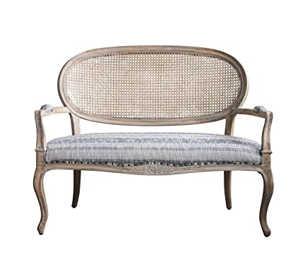 Captivating Creative Co Op Cane Back Mango Wood Settee In Grey Striped Fabric 01  Furniture