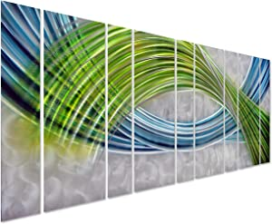 """Pure Art Abstract Color Warp Metal Wall Art - Oversized Scale Metal Wall Decor in Abstract Blue-Green Swirls - 9-Panels Measure 86"""" x 32"""" - 3D Wall Art for Modern and Contemporary Decor"""
