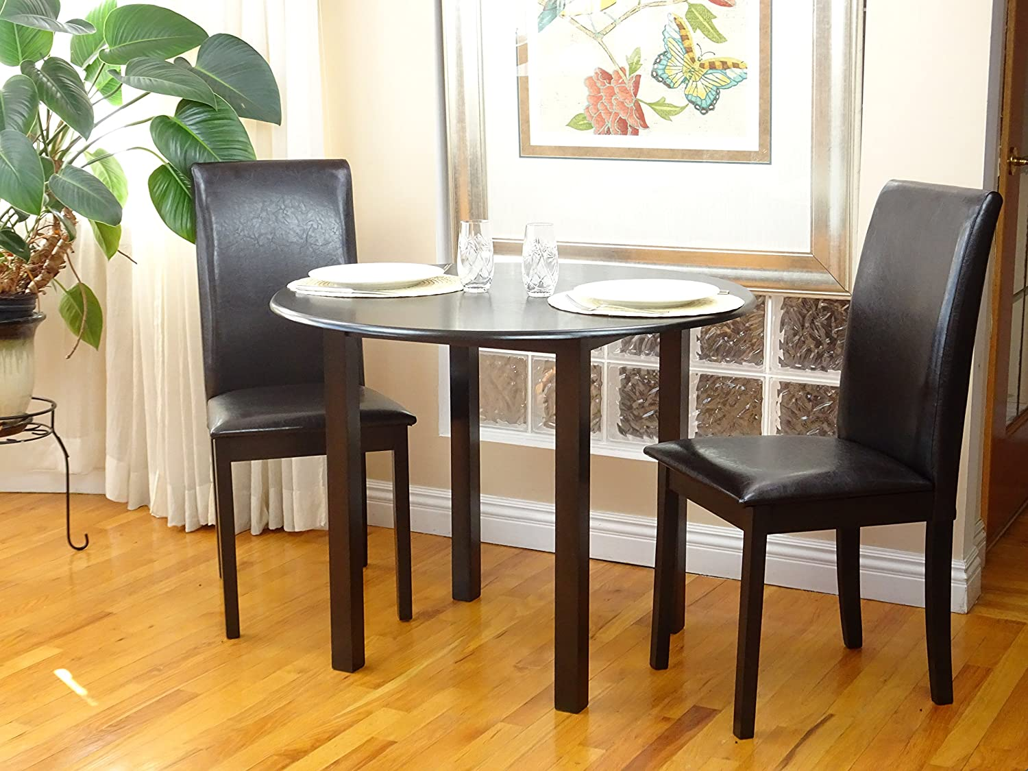 Rattan Wicker Furniture Dining Kitchen Set 3 Pcs Classic Round Table and 2 Solid Wooden Chairs Fallabella Espresso Black Finish