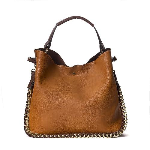 Handbag Republic Womens Fashion PU Designer Handbag Shoulder Bag Interlocking Chain Handle Stylish Tote
