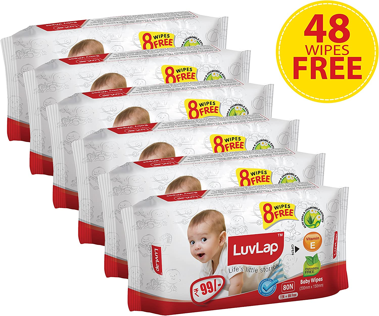 Luvlap Paraben-free Baby Wet Wipes with Aloe Vera