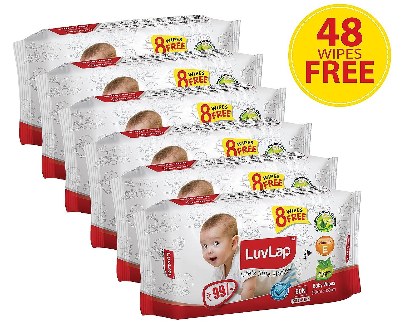 Luvlap Baby Wipes 72+8 - Pack Of 6