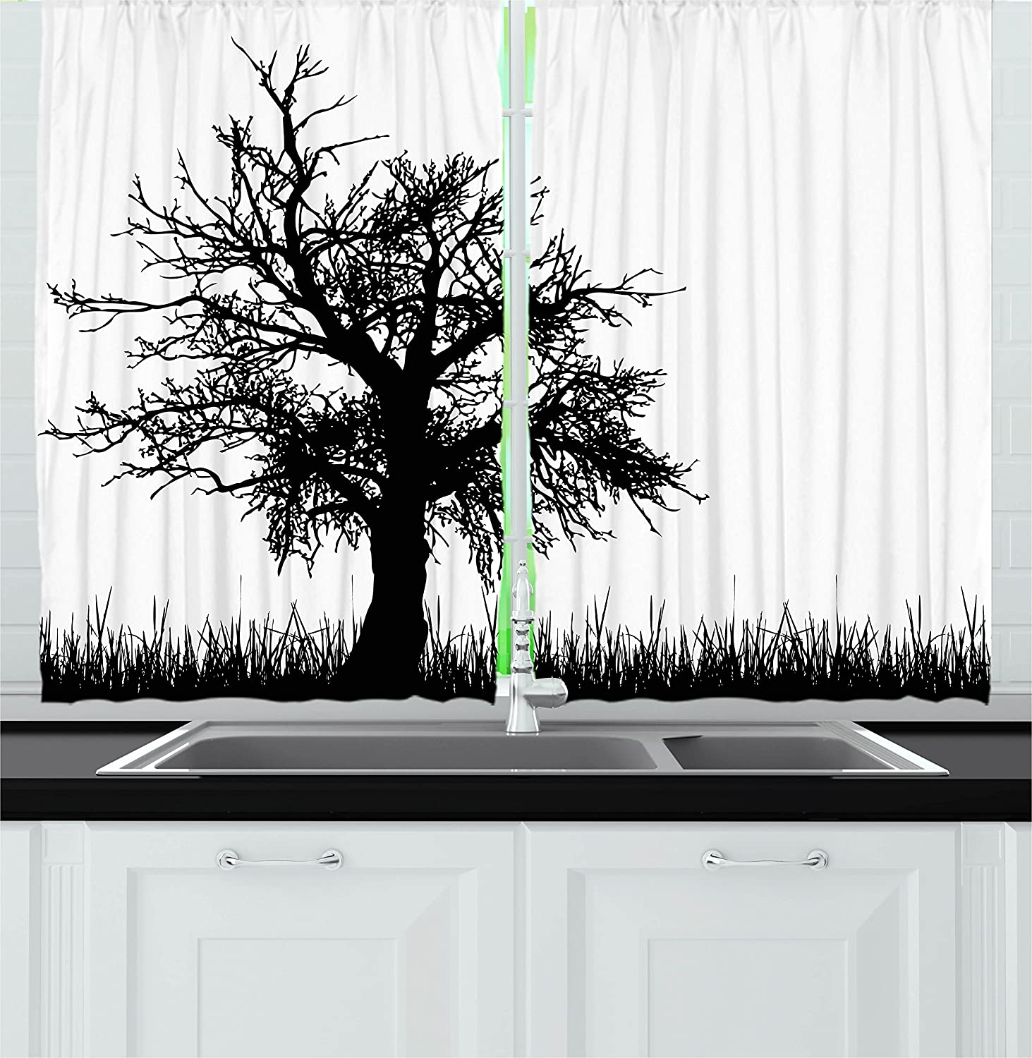 Ambesonne Nature Kitchen Curtains, Old Tree Silhouette on Grass Field Foliage Meadow Rural Solitude Artsy Print, Window Drapes 2 Panels Set for Kitchen Cafe, 55W X 39L inches, Black and White