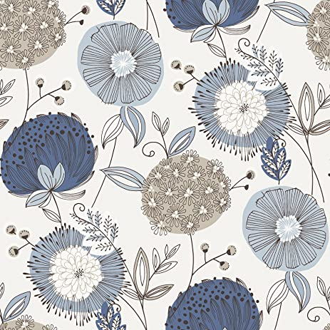 Eco Wallpaper WV5653 Navy Modern Floral