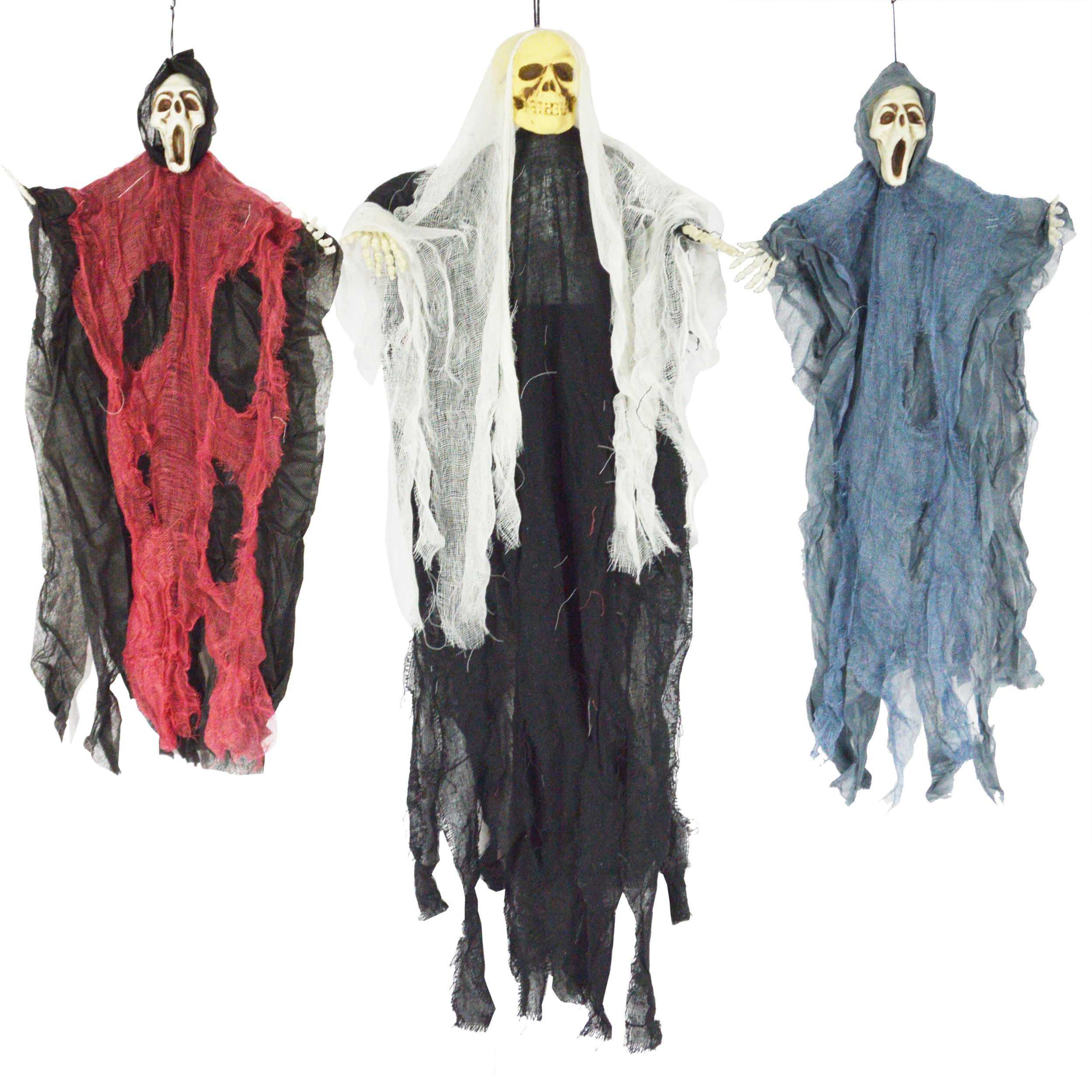 JOYIN Set of Three Hanging Skeleton Ghost Halloween Decorations(One 35'' Hanging Ghost Skeleton and Two 25'' Hanging Reapers)