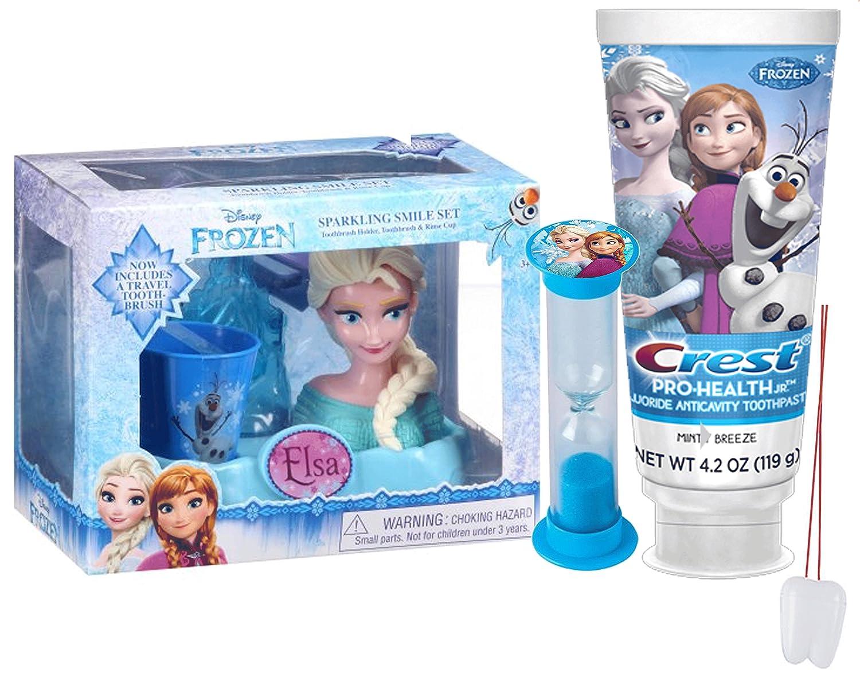 Disney Frozen Elsa inspirado 4 piezas brillante sonrisa oral higiene Set de regalo. Incluye soporte para cepillos de dientes, cepillo de dientes, ...