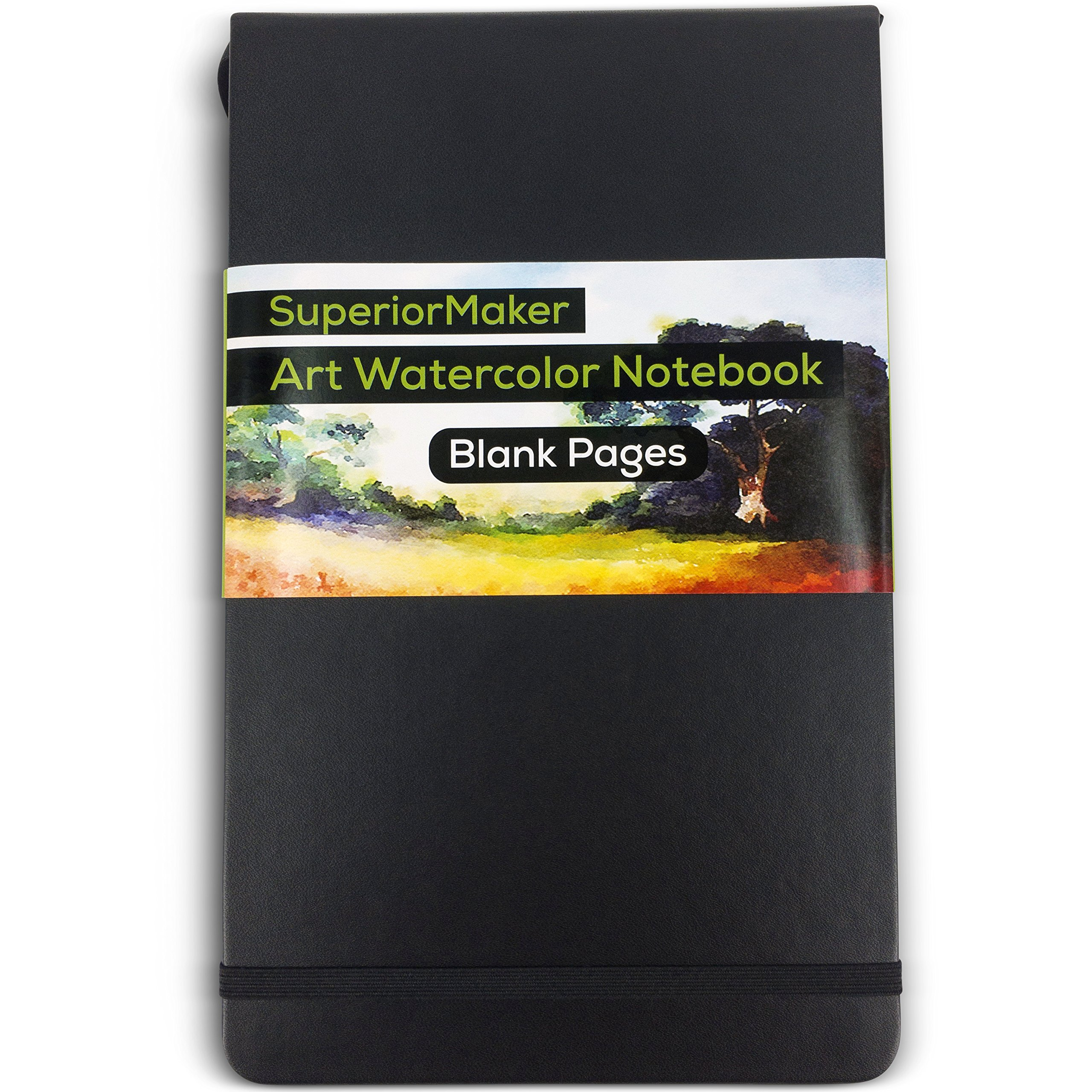 Watercolor Paint Sketchbook, Water and Dry Media Art Notepad, Heavyweight 220gsm Paper, No Bleed, Top Opening, 5'' x 8.25'', 100 Pages, Crafts, Materials, Black Hardcover Journal - SuperiorMaker