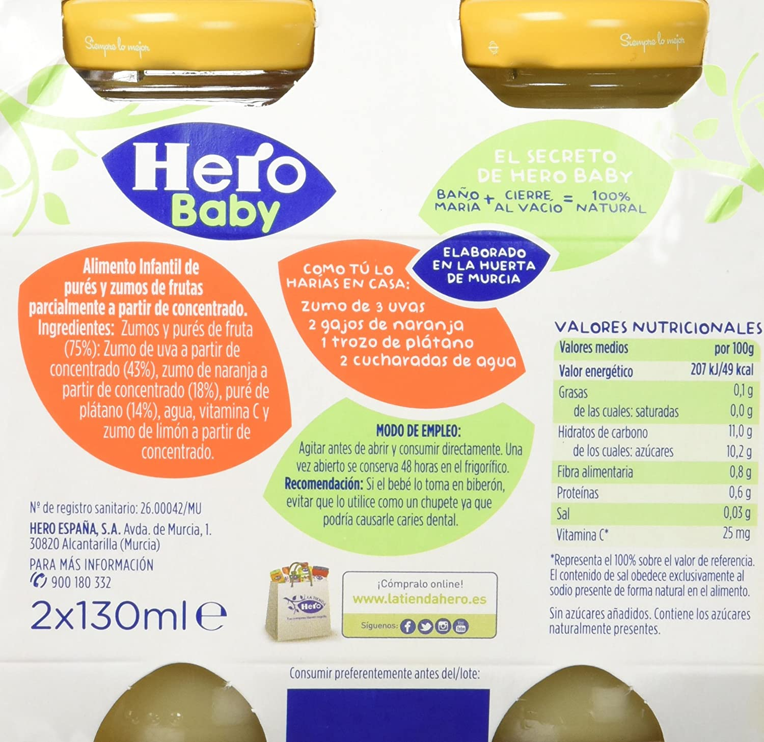 Hero Baby Zumitos Uva Naranja Plátano 260 ml - Pack de 6 (Total 1560 ml): Amazon.es: Alimentación y bebidas