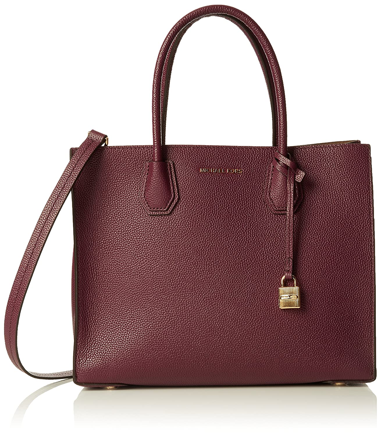 7b7e195cf6a47 Amazon.com: MICHAEL MICHAEL KORS Mercer Large Bonded-Leather Tote (Plum):  Shoes