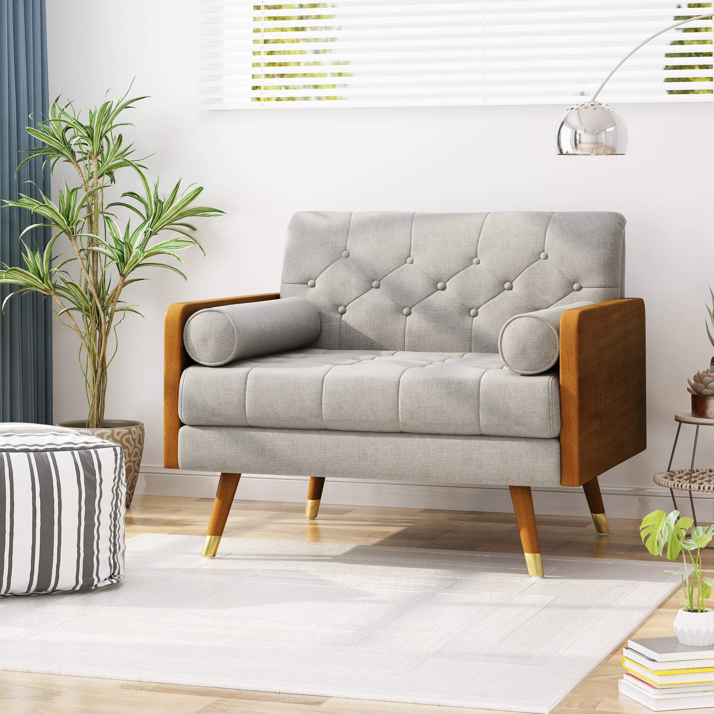 Christopher Knight Home Greta Mid Century Modern Fabric Club Chair, Beige, Dark Walnut by Christopher Knight Home