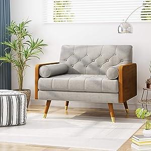 Christopher Knight Home 305748 Greta Mid Century Modern Fabric Club Chair, Beige, Dark Walnut