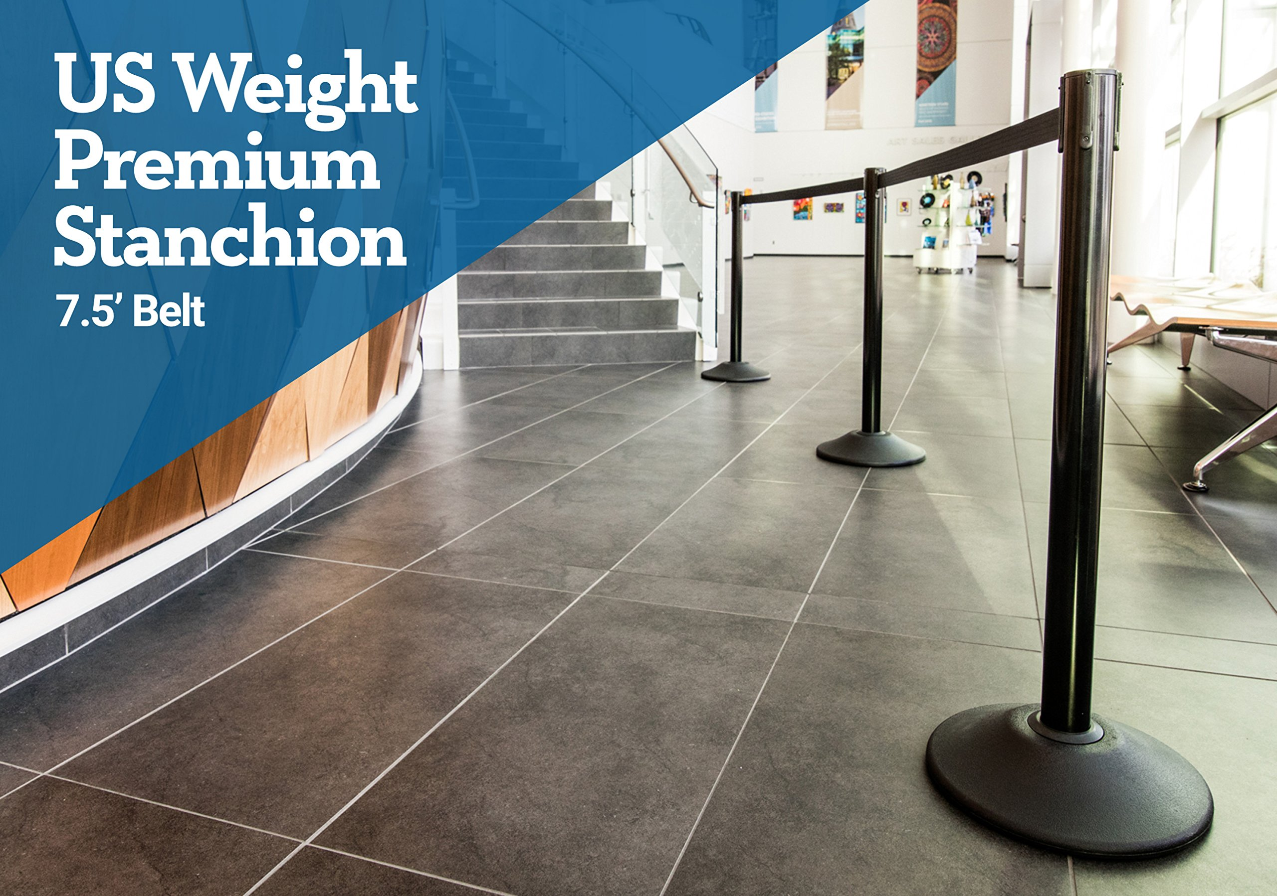US Weight Heavy Duty Premium Steel Stanchion with 7.5-Foot Retractable Belt (More Colors Available) by US Weight (Image #2)