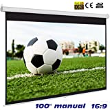 """Pantalla Manual Mural de 100"""" 16:9 , Dimensiones de la Tela 2,20 x 1,14 Metros, cajetin de Acero 2,33 Metros, Pantalla para proyector Compatible con 4K, 16:9"""