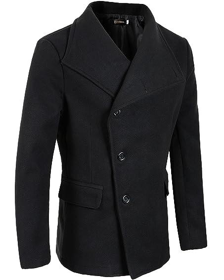 Benibos Men's Unbalance High Neck Slim Pea Coat at Amazon Men's ...