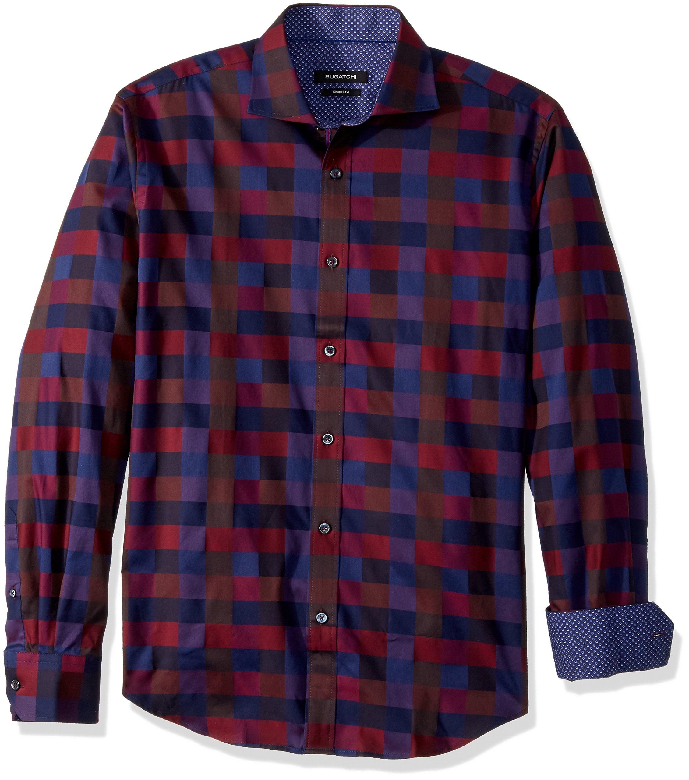 BUGATCHI Men's Cotton Slim Fit Spread Collar Woven, Plum, Small