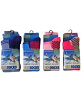 Kids/Girls Winter Thermal High Performance Ski Socks With Extra Cushioning available in 3 Sizes, 4 Pair Pack