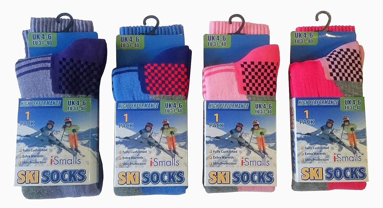 Kinder Thermo hohe Leistung extra gepolsterte Skisocken 2er Pack