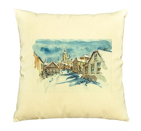 Calle y la Iglesia en invierno impreso cubierta de almohadas ...