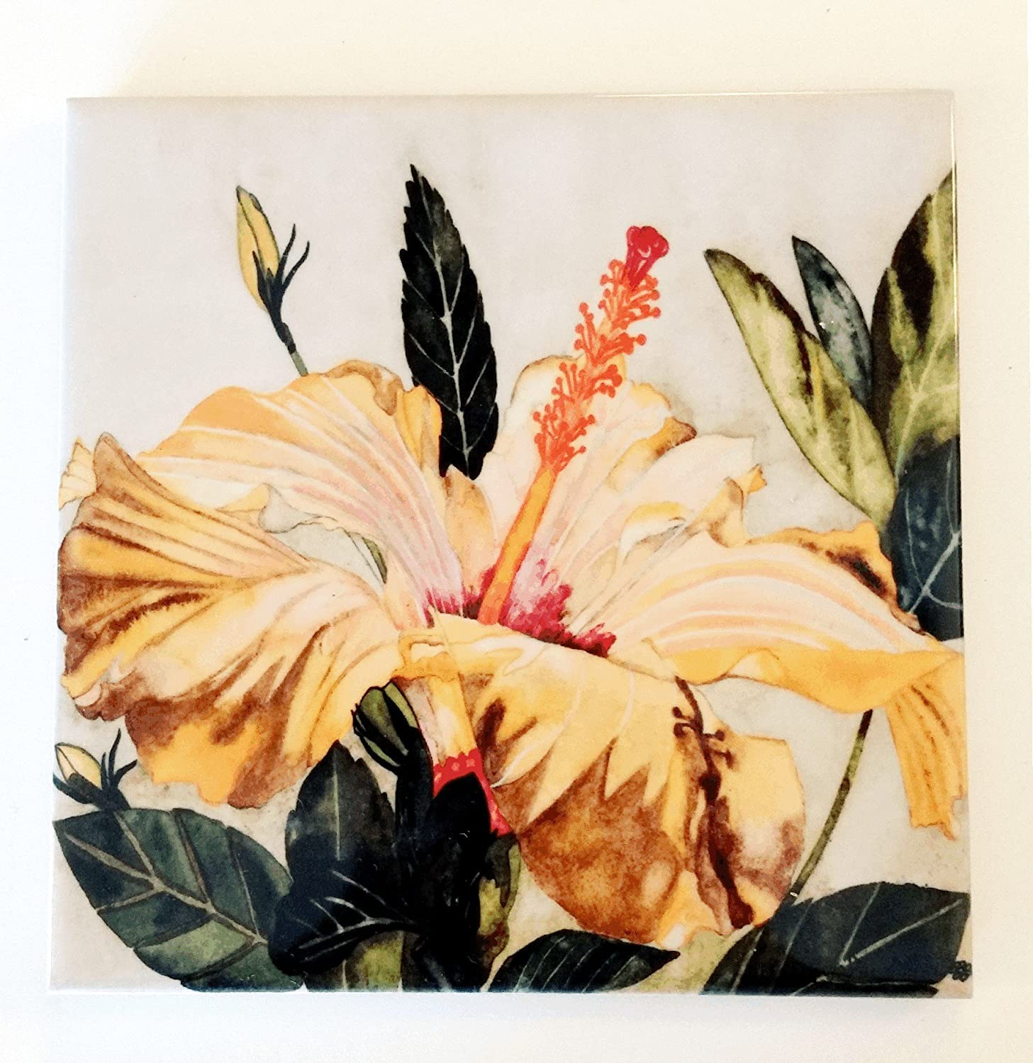 Yellow Hibiscus Ceramic Tile -