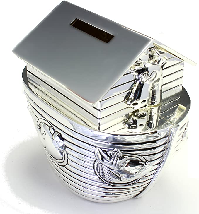 Personalized Engraved Noah/'s Ark Money Bank Christening Naming Day Christmas