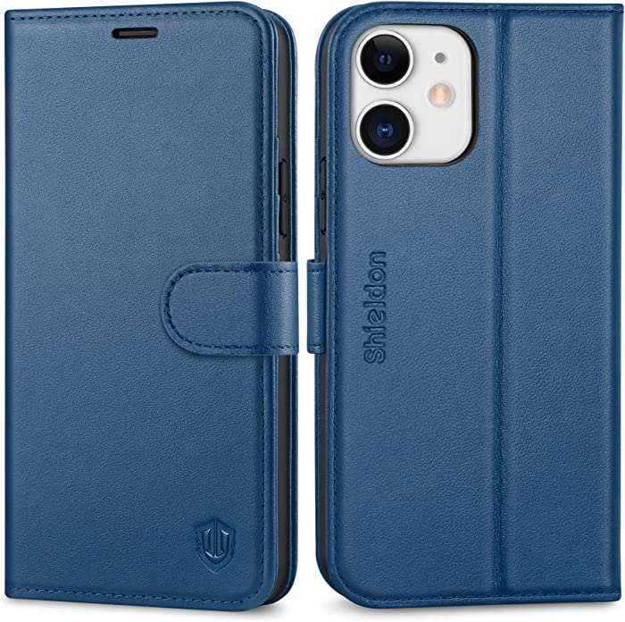"""SHIELDON Case for iPhone 12/12 Pro, Genuine Leather Flip Wallet Magnetic Protection Cover, Kickstand RFID Blocking Card Holder Compatible with iPhone 12 5G (6.1"""" 2020) - Royal Blue"""