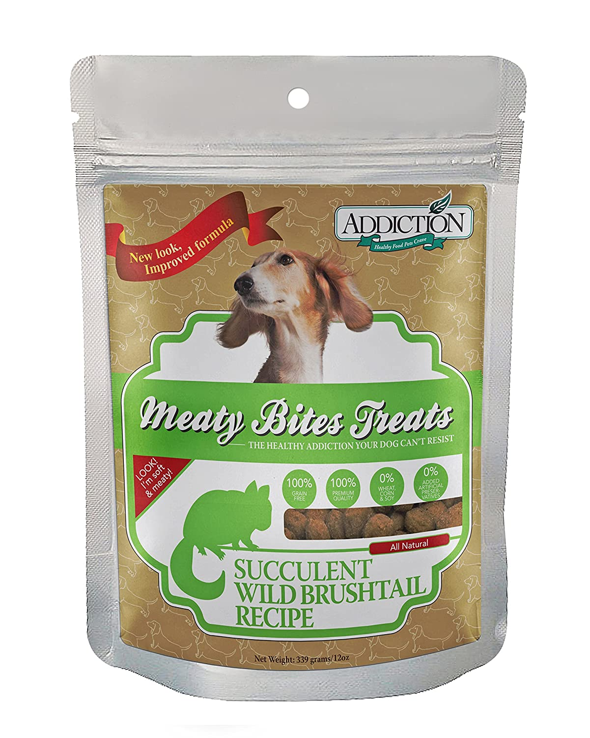 12 Ounce Addiction Wild Brushtail Meaty Bites Grain Free Dog Treats, 12 Oz.
