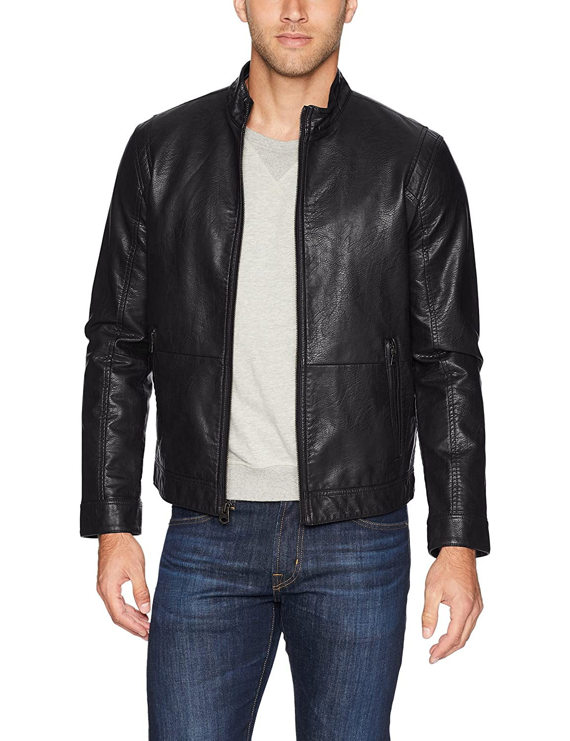 Dockers Mens Standard The Dylan Faux Leather Racer Jacket DM8RU661