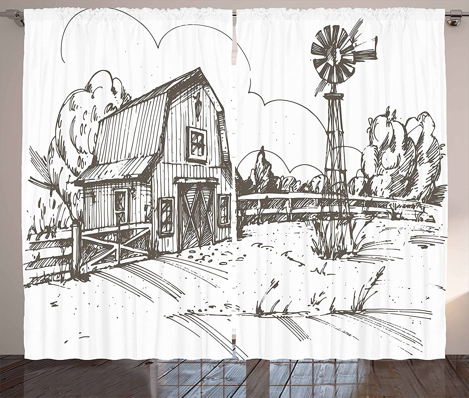 Ambesonne Windmill Curtains, Rustic Barn Farmhouse Hand Drawn Illustration Countryside Rural Meadow, Living Room Bedroom Window Drapes 2 Panel Set, 108