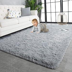 TWINNIS Super Soft Shaggy Rugs Fluffy Carpets, 4x5.9 Feet, Indoor Modern Plush Area Rugs for Living Room Bedroom Kids Room Nursery Home Decor, Upgrade Anti-Skid Durable Rectangular Fuzzy Rug, Grey