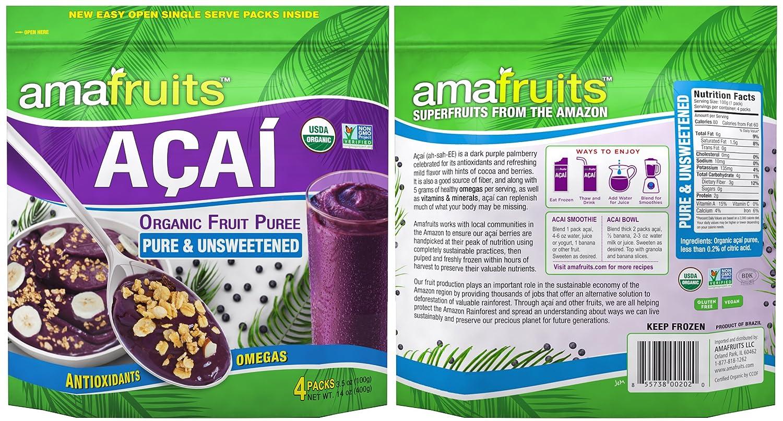 Amafruits Acai Berry Puree - Pure & Unsweetened (24)
