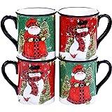 Certified International Winter's Plaid 16 oz. Mugs, Set of 4, 2 Assorted Designs