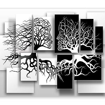 Murando Papier Peint Intisse Noir Blanc 250x175 Cm Decoration Murale Xxl Poster Tableaux Muraux Tapisserie Photo Trompe L Oeil Abstrait 3d Arbre Love