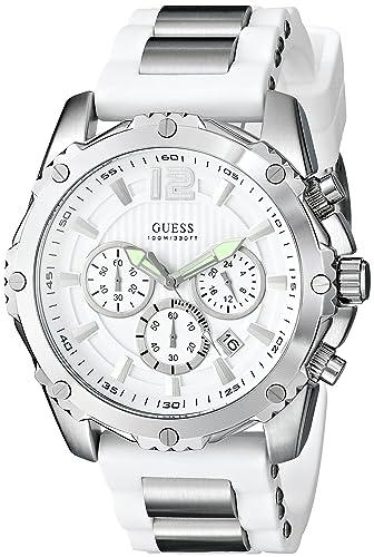 Guess U0167G2 - Reloj de Pulsera Hombre, Silicona, Color Blanco: Guess: Amazon.es: Relojes