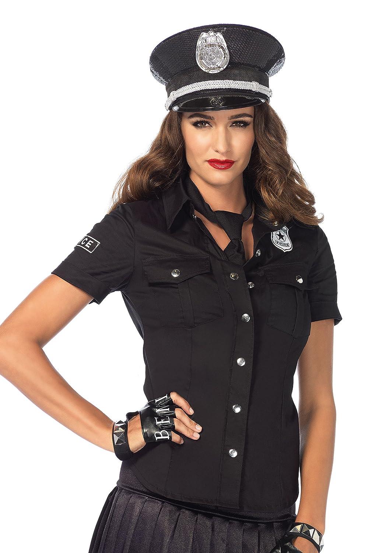 LEG AVENUE 2640 - 2Tl. Kostüm Set Polizeihemd, Größe M, schwarz, Damen Karneval Kostüm Fasching Größe M 264002001