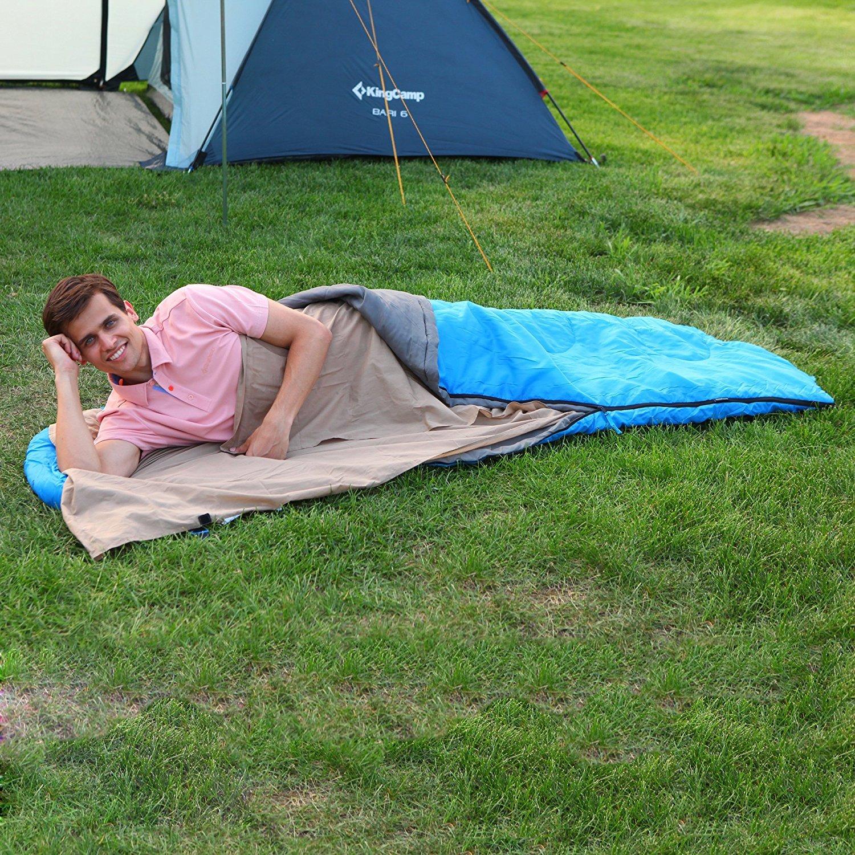 KingCamp Ultraligero Algod/ón S/ábanas para Sacos de Dormir 220 /× 86 cm para Camping Excursiones Alpinismo