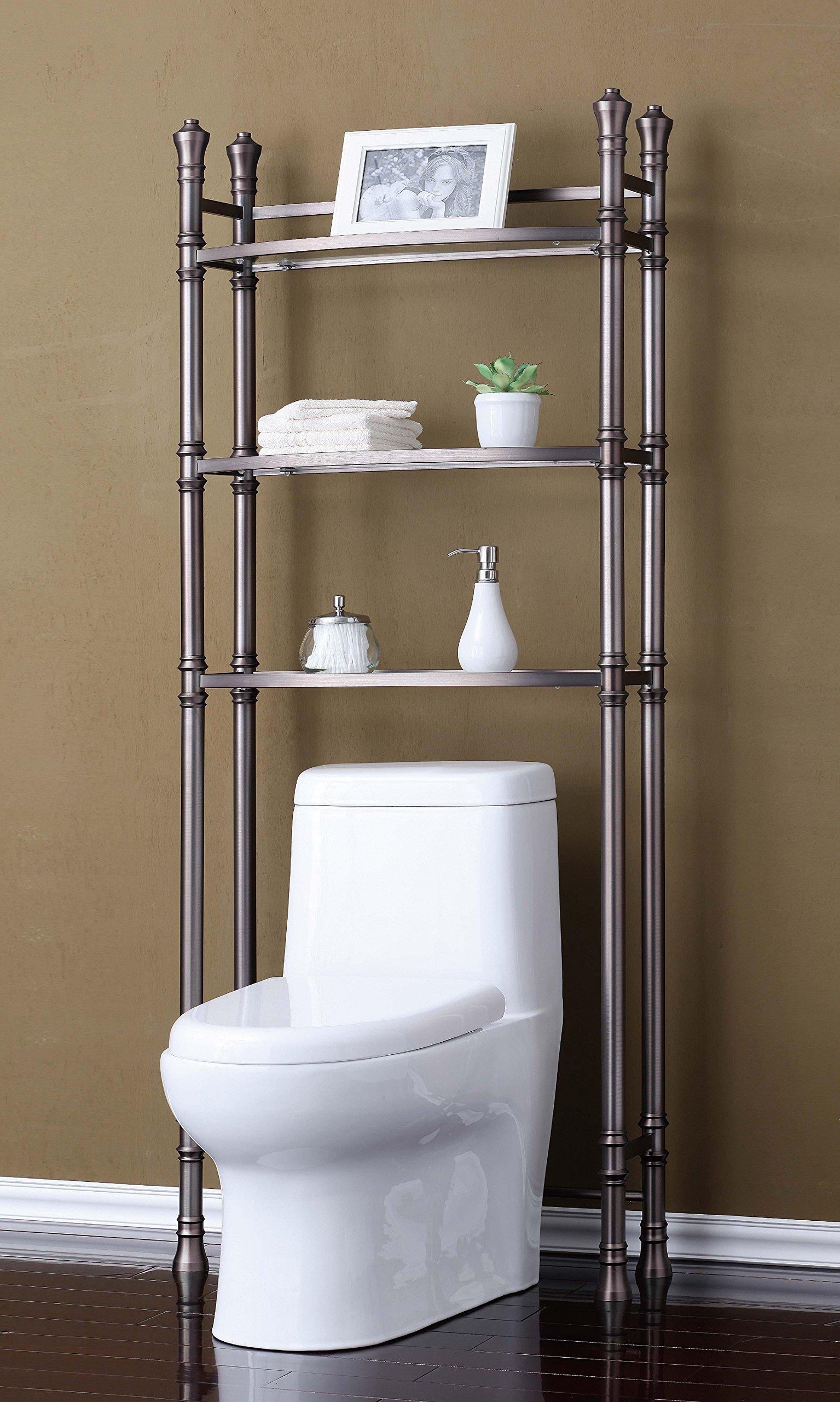 Best Living Monaco Bathroom Space Saver Etagere Shelf, Brushed Titanium