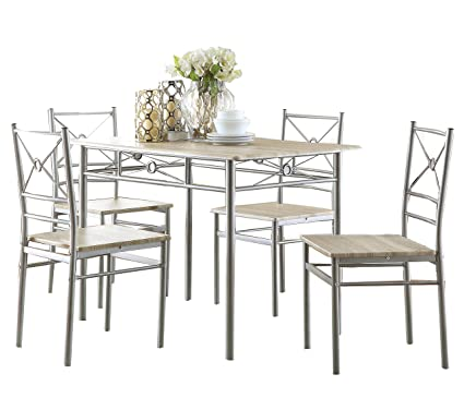 Superbe 5 Piece Rectangular Dining Set Brushed Silver And Taupe