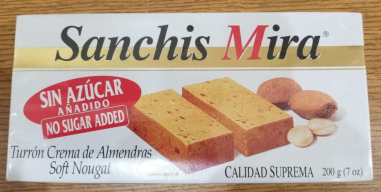 Amazon.com : Sanchis Mira Turron Crema de Almendras Soft Nougat 7oz - No Sugar Added (Sin Azúcar Añadido) : Grocery & Gourmet Food