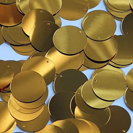 """Gold Shiny Metallic Sequins Shiny Round 2/"""" Large Couture Paillettes"""