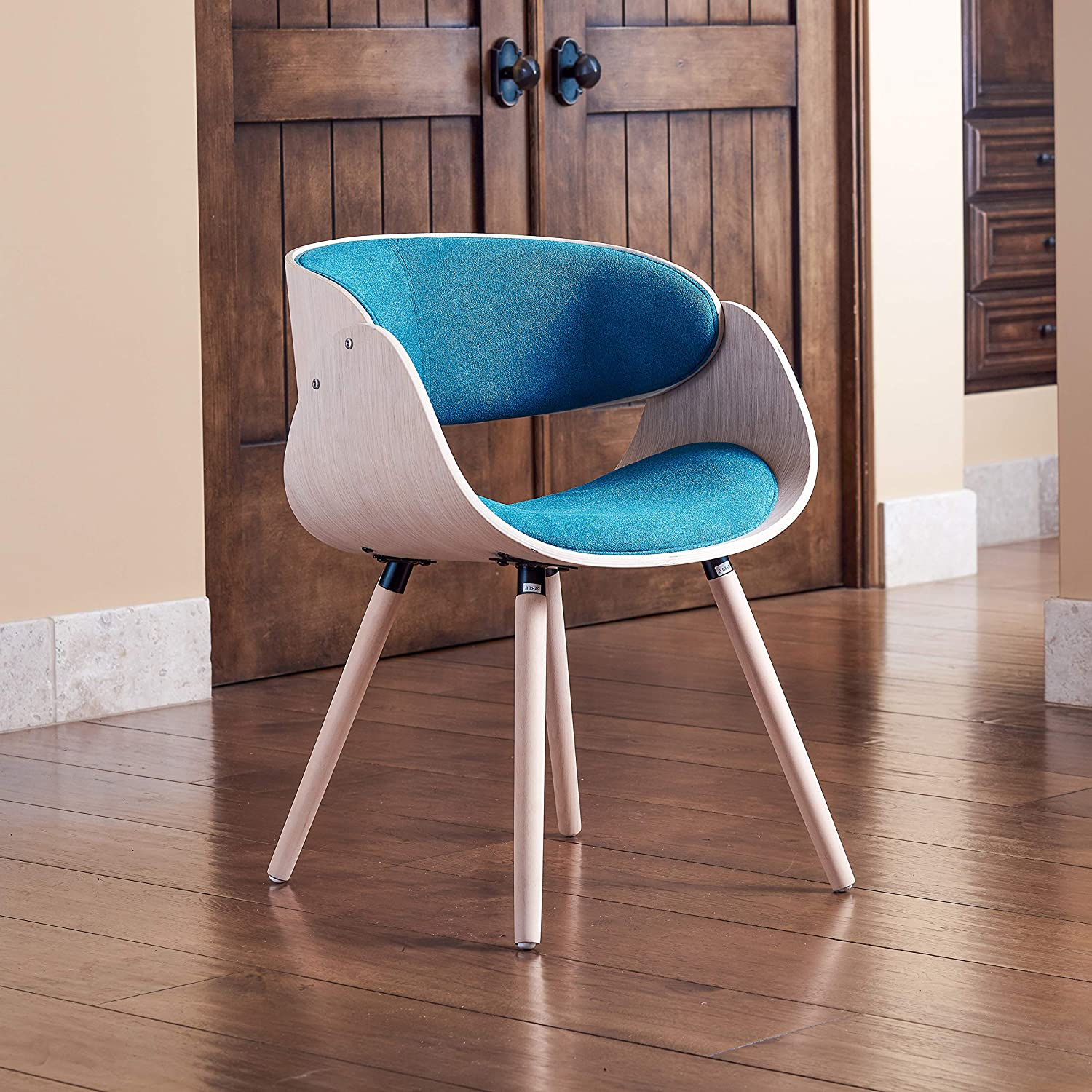 Amazon com supernova mid century accent armchair with foam padding turquoise suede fabric straight armrest kitchen dining
